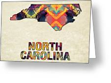 Polygon Mosaic Parchment Map North Carolina Greeting Card