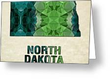 Polygon Mosaic Parchment Map North Dakota Greeting Card