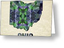 Polygon Mosaic Parchment Map Ohio Greeting Card