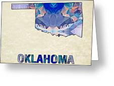 Polygon Mosaic Parchment Map Oklahoma Greeting Card