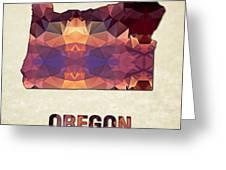 Polygon Mosaic Parchment Map Oregon Greeting Card