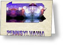 Polygon Mosaic Parchment Map Pennsylvania Greeting Card