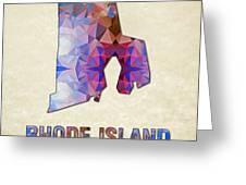 Polygon Mosaic Parchment Map Rhode Island Greeting Card