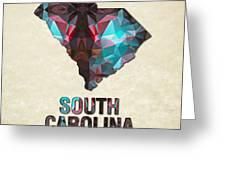 Polygon Mosaic Parchment Map South Carolina Greeting Card