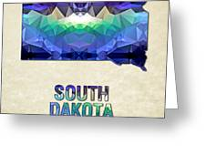 Polygon Mosaic Parchment Map South Dakota Greeting Card