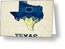 Polygon Mosaic Parchment Map Texas Greeting Card