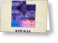 Polygon Mosaic Parchment Map Utah Greeting Card
