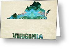 Polygon Mosaic Parchment Map Virginia Greeting Card