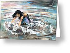 Polynesian Child Playing With Water Greeting Card