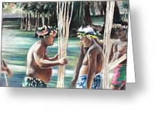 Polynesian Men With Spears Greeting Card