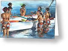 Polynesian Vahines Around Canoe Greeting Card