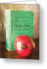 Pomegranate And Vintage Cook Book Still Life Greeting Card