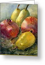 Pomegranates And Pears Greeting Card