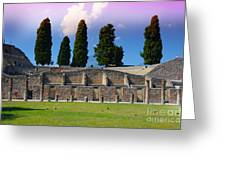 Pompeii Walls And Trees Greeting Card