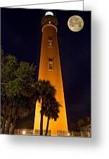 Ponce Inlet Lighthouse And Moon Greeting Card