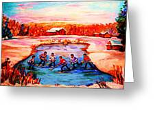 Pond Hockey Game By Montreal Hockey Artist Carole Spandau Greeting Card