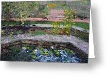 Pond In The English Walled Gardens Greeting Card