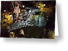Pond Waterfall And Chuck The Bear Greeting Card