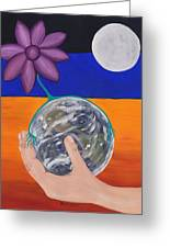 Pondering Creation Hand And Globe Greeting Card