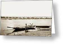 pont George V Bridge over Loire river Orleans Loire Valley France 1900 Greeting Card