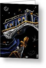 Ponte Di Rialto - Grand Canal Venise Gondola Illustration Greeting Card by Arte Venezia