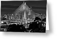 Sao Paulo - Ponte Octavio Frias De Oliveira By Night In Black And White Greeting Card