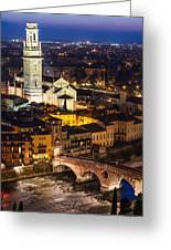 Ponte Pietra And Duomo Of Verona Dusk Greeting Card