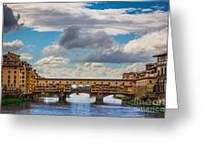 Ponte Vecchio Clouds Greeting Card by Inge Johnsson