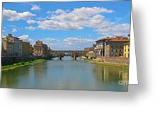 Ponte Vecchio Over The Arno River At Florence Italy Greeting Card