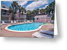 Pool And Cottages Greeting Card