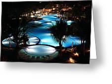 Pool At Night Greeting Card