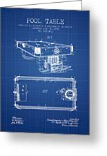 Pool Table Patent From 1892 - Blueprint Greeting Card