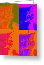 Pop Art Cat  Greeting Card by Ann Powell