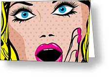 Pop Art Excited Woman. Vector Greeting Card