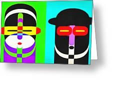 Pop Art People 4 Row Greeting Card