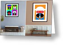 Pop Art People On The Wall Greeting Card