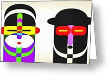 Pop Art People Row White Background Greeting Card