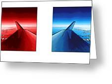 Red Blue Jet Pop Art Planes  Greeting Card