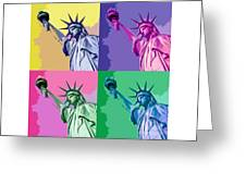 Pop Liberty Greeting Card by Delphimages Photo Creations