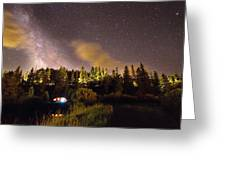 Pop Up Camper Under The Milky Way Sky Greeting Card