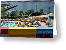 Pop Up Pool In Brooklyn Bridge Park Greeting Card