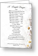 Pope Francis St. Francis Simple Prayer Daisies Greeting Card by Desiderata Gallery