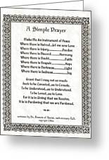 Pope Francis St. Francis Simple Prayer Pray For Peace On Parchment Greeting Card by Desiderata Gallery