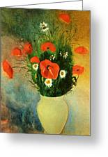 Poppies And Daisies Greeting Card by Odilon Redon