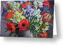 Poppies And Irises Greeting Card by Anthea Durose