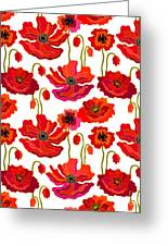 Poppies Field. Seamless Vector Pattern Greeting Card
