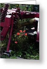 Poppies Growing Amongst Farm Machinery In A Farmyard Near Pocklington Yorkshire Wolds East Yorkshire Greeting Card