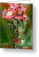 Poppies In A Poppy Vase Greeting Card