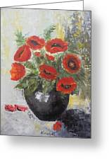 Poppies In A Vase Greeting Card