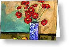 Poppies In A Vase With Fruit Greeting Card